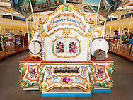 Nunley's Carousel Organ, at Museum Row in Garden City, New York, USA, 2012. Taken with ultra wide angle lens Nikon 14-24mm f/2.8 (NOTE: digitally altered - removed cable in lower left corner from carousel platform)