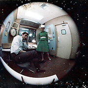 Dave Boxer; CFCF 600, radio; DJ; Montreal; man; entertainer; woman; broadcast; talent; music; circa 1967 - 1971, fish-eye, circle