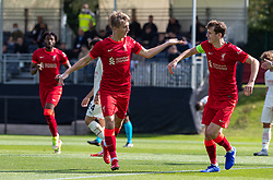 LIVERPOOL, ENGLAND - Wednesday, September 15, 2021: Liverpool's Max Woltman (L) celebrates with team-mate and captain Tyler Morton after scoring the only goal of the game during the UEFA Youth League Group B Matchday 1 game between Liverpool FC Under19's and AC Milan Under 19's at the Liverpool Academy. Liverpool won 1-0. (Pic by David Rawcliffe/Propaganda)