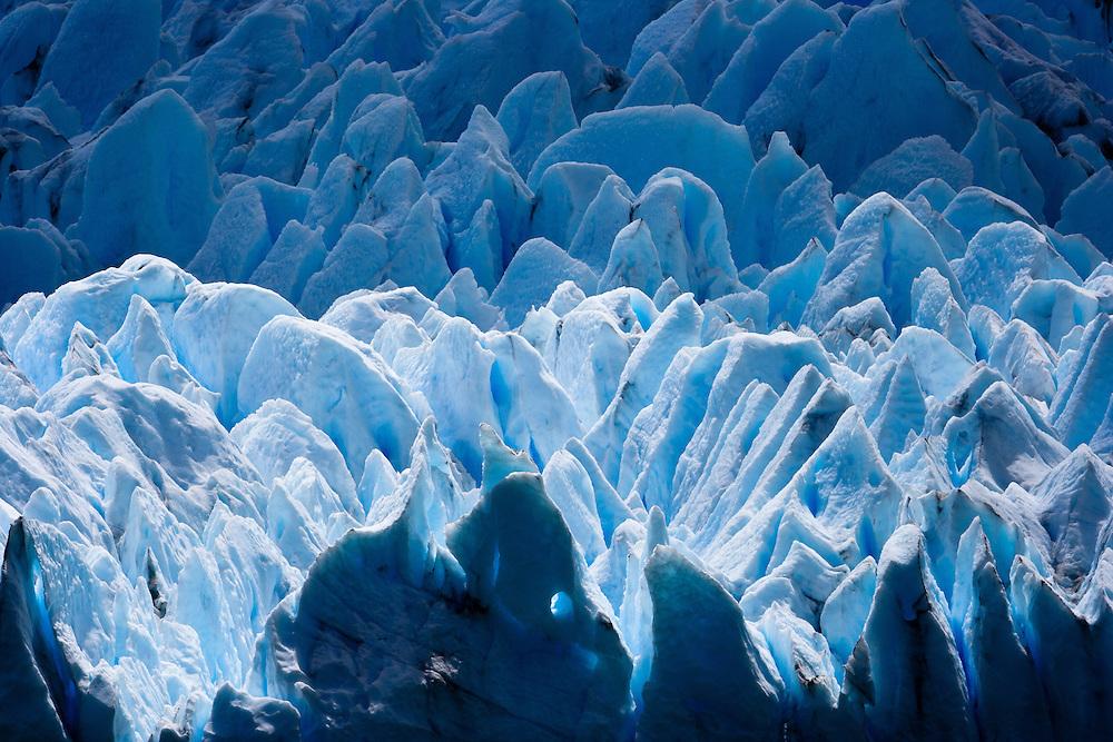 Sunlight illuminating the Perito Moreno Glacier, Los Glacieres NP, Patagonia, Argentina