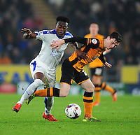 Leicester City's Joe Dodoo vies for possession with Hull City's Andrew Robertson<br /> <br /> Photographer Chris Vaughan/CameraSport<br /> <br /> Football - Capital One Cup Round 4 - Hull City v Leicester City - Tuesday 27th October 2015 - Kingston Communications Stadium - Hull<br />  <br /> © CameraSport - 43 Linden Ave. Countesthorpe. Leicester. England. LE8 5PG - Tel: +44 (0) 116 277 4147 - admin@camerasport.com - www.camerasport.com