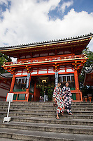 Yasaka Shrine or in Japanese Yasaka Jinja was once called Gion Shrine includes several buildings, a main hall and a stage on which kendo and noh performances are held.   The shrine was constructed in the year 656 and was under imperial patronage during the early Heian period.   In the year 869 the mikoshi portable shrines or divine palanquins of Gion Shrine were paraded through Kyoto to help ward off an epidemic  which was the beginning of the Gion Matsuri, an annual festival which has become an intangible UNESCO world heritage artifact.