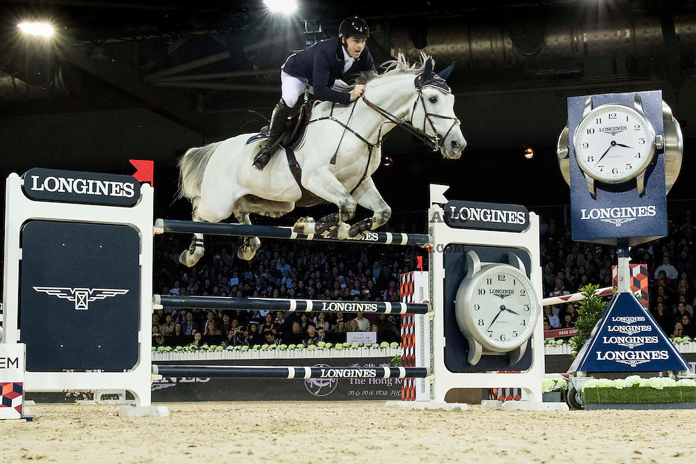Emanuele Gaudiano on Caspar 232 competes during Longines Grand Prix at the Longines Masters of Hong Kong on 21 February 2016 at the Asia World Expo in Hong Kong, China. Photo by Juan Manuel Serrano / Power Sport Images