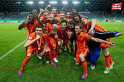 Players of Netherlands celebrate during trophy ceremony after winning the UEFA European Under-17 Championship Final match between Germany and Netherlands on May 16, 2012 in SRC Stozice, Ljubljana, Slovenia. Netherlands defeated Germany after penalty shots and became European Under-17 Champion 2012. (Photo by Vid Ponikvar / Sportida.com)