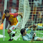 Galatasaray's Milan BAROS (L) celebrate his goal during their Friendly soccer match Galatasaray between Liverpool at the TT Arena at Arslantepe in Istanbul Turkey on Saturday 28 July 2011. Photo by TURKPIX
