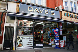 © Licensed to London News Pictures. 13/04/2021. London, UK. General view of Dave's newsagent on Grand Parade, Green Lanes in Haringey, north London following the stabbing of a 16 year old boy. Police were called at 9pm on Monday, 12 April to reports of a stabbing and found a boy with an injury to his stomach. He was taken to a hospital and his condition is critical. Photo credit: Dinendra Haria/LNP