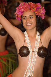 Chile, Easter Island:  The Kari Kari dance troupe dances at the Hotel Hanga Roa in Hanga Roa.  Easter Island and South Pacific dance styles..Photo #: ch337-33070.Photo copyright Lee Foster www.fostertravel.com lee@fostertravel.com 510-549-2202