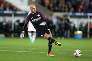 Manchester city goalkeeper Willy Caballero in action.EFL Cup. 3rd round match, Swansea city v Manchester city at the Liberty Stadium in Swansea, South Wales on Wednesday 21st September 2016.<br /> pic by  Andrew Orchard, Andrew Orchard sports photography.