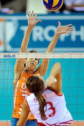 18-09-2011 VOLLEYBAL: DELA TROPHY NEDERLAND - TURKIJE: ALMERE<br /> Nederland wint met 3-0 van Turkije en wint hierdoor de DELA Trophy / Ingrid Visser<br /> ©2011-FotoHoogendoorn.nl