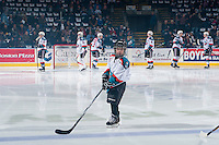 KELOWNA, CANADA - FEBRUARY 10: The Pepsi Save on Foods Player of the game skates on the ice with the Kelowna Rockets against the Vancouver Giants on February 10, 2017 at Prospera Place in Kelowna, British Columbia, Canada.  (Photo by Marissa Baecker/Shoot the Breeze)  *** Local Caption ***