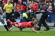 15.02.2015. Edinburgh. RBS 6 Nations 2015 Scotland v Wales. Liam Williams scores a try for Wales which was later disallowed.from Murrayfield Stadium, Edinburgh.
