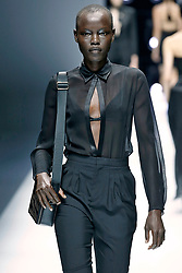 Model Grace Bol walks on the runway during the Lanvin Fashion Show during Paris Fashion Week Spring Summer 2018 held at the Grand Palais Salon d'Honneur in Paris, France on September 27, 2017. (Photo by Jonas Gustavsson/Sipa USA)