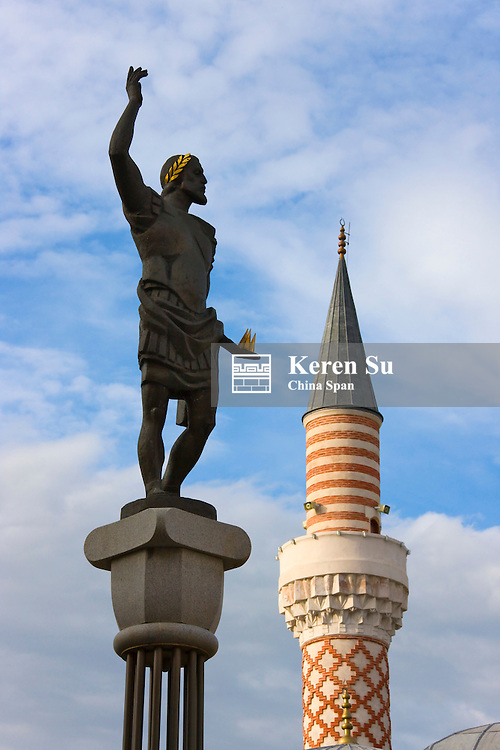 Minaret and mosque and statue, Plovdiv, Bulgaria