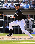 CHICAGO - MAY 14:  Nicky Delmonico #30 of the Chicago White Sox bats against the Cleveland Indians on May 14, 2019 at Guaranteed Rate Field in Chicago, Illinois.  (Photo by Ron Vesely)  Subject:  Nicky Delmonico