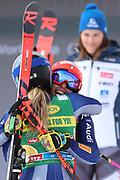 SOELDEN, AUSTRIA. OCTOBER 17 2020:  1st Women's Giant Slalom as part of the Alpine Ski World Cup in Solden on October 17, 2020; Run 2, Federica Brignone (ITA) and Marta Bassino (ITA) ( Pierre Teyssot/ESPA Images-Image of Sport)