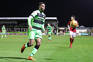 Forest Green Rovers Tahvon Campbell(14) on the ball during the EFL Sky Bet League 2 match between Forest Green Rovers and Crewe Alexandra at the New Lawn, Forest Green, United Kingdom on 22 December 2018.