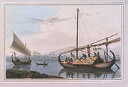 MALAY PROAS colour print from the book ' A Picturesque Voyage to India by Way of China  ' by Thomas Daniell, R.A. and William Daniell, A.R.A. London : Printed for Longman, Hurst, Rees, and Orme, and William Daniell by Thomas Davison, 1810. The Daniells' original watercolors for the scenes depicted herein are now at the Yale Center for British Art, Department of Rare Books and Manuscripts,