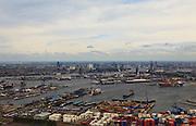 Nederland, Zuid-Holland, Rotterdam, 22-05-2011;.Europoort. .Containerterminal ECT in de Prinses Beatrixhaven met zicht op Heijplaat en Waalhaven. skyline van Rotterdam. De Erasmusbrug in de verte is goed te zien midden in de rechterhelft van de foto..Containerterminal ECT in the Prinses Beatrixhaven in the Port of Rotterdam, in the back the skyline of Rotterdam...luchtfoto (toeslag), aerial photo (additional fee required).foto/photo Siebe Swart.luchtfoto (toeslag), aerial photo (additional fee required).foto/photo Siebe Swart