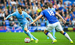 David Silva of Manchester City is closed down by Everton's Gareth Barry   - Mandatory byline: Matt McNulty/JMP - 07966386802 - 23/08/2015 - FOOTBALL - Goodison Park -Everton,England - Everton v Manchester City - Barclays Premier League