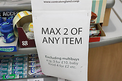 A sign reading Max 2 of Any Item in a Co-Operative Store<br /> <br /> <br /> Ben Booth | 20/03/2020