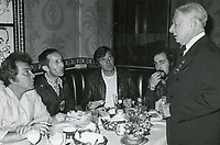 1978 Actor George Jessel chats with Cameron Mitchell (left) and others, at the Hollywood Brown Derby restaurant on Vine St.