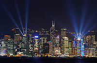 Chine, Hong Kong, Central la nuit vu depuis Kowloon, spectacle son et lumiere // China, Hong Kong, Central by night from Kowloon, light show