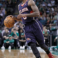 10 May 2012: Atlanta Hawks point guard Jeff Teague (0) looks to pass the ball during the Boston Celtics 83-80 victory over the Atlanta Hawks, in Game 6 of the Eastern Conference first-round playoff series, at the TD Banknorth Garden, Boston, Massachusetts, USA.
