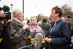 © Licensed to London News Pictures. 17/09/2016. London, UK. Actress VANESSA REDGRAVE (L) joins thousands as they march through central London to call on the government to welcome refugees to the UK. Photo credit: Rob Pinney/LNP