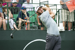 May 5, 2019 - Charlotte, North Carolina, United States of America - Max Homa tees off on the tenth hole during the final round of the 2019 Wells Fargo Championship at Quail Hollow Club on May 05, 2019 in Charlotte, North Carolina. (Credit Image: © Spencer Lee/ZUMA Wire)