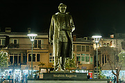 Nov. 27, 2013 - Prishtina, Kosovo - A statue of former Kosovo President Ibrahim Rugova who dies in January 2006, lies humble in front of the parliamentary building in Prishtina, Kosovo's capital city. (Credit Image: © Vedat Xhymshiti/ZUMAPRESS.com)