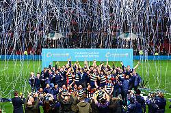 Bristol Rugby celebrate winning the Greene King IPA Championship  - Mandatory by-line: Dougie Allward/JMP - 13/04/2018 - RUGBY - Ashton Gate Stadium - Bristol, England - Bristol Rugby v Doncaster Knights - Greene King IPA Championship