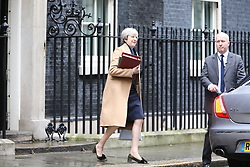 © Licensed to London News Pictures. 08/03/2017. London UK. PM Teresa May leaves downing street today before the Chancellor of the Exchequer Philip Hammond Makes his first full Budget speech to the House of Commons.Photo credit: Andrew McCaren/LNP
