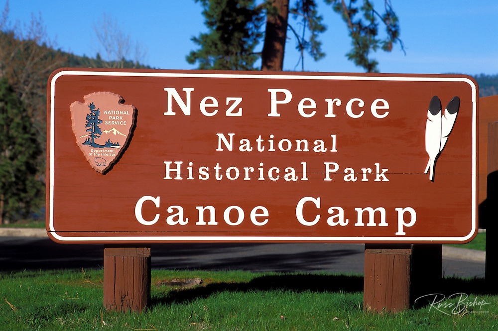 National Park sign at the Canoe Camp where Lewis and Clark stayed on September 26, 1805, Nez Perce National Historic Park, Idaho