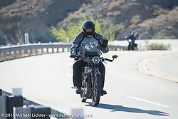 Richard Asprey of Texas riding his 1915 Norton up the steep mountain pass just out of Palm Desert on the Palms to Pines Scenic Byway on the last day of the Motorcycle Cannonball Race of the Century. Stage-15 ride from Palm Desert, CA to Carlsbad, CA. USA. Sunday September 25, 2016. Photography ©2016 Michael Lichter.
