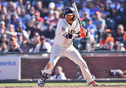 April 29, 2018 - San Francisco, CA, U.S. - SAN FRANCISCO, CA - APRIL 29: San Francisco Giants Shortstop Brandon Crawford (35) at bat during the San Francisco Giants and Los Angeles Dodgers game at AT&T Park on April 29, 2018 in San Francisco, CA.  (Photo by Stephen Hopson/Icon Sportswire) (Credit Image: © Stephen Hopson/Icon SMI via ZUMA Press)