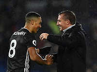 Football - 2019 / 2020 Premier League - Brighton & Hove Albion vs. Leicester City<br /> <br /> Leicester City manager Brendan Rodgers with Youri Tielemans after their 2-0 victory, at The Amex.<br /> <br /> COLORSPORT/ASHLEY WESTERN