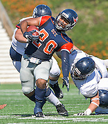 Costa Mesa, California --  Orange Coast College Running Back Derrick Hunt is pulled back by an illegal horse collar tackle against Fullerton College defenders during Saturday's  game at LeBard Stadium.