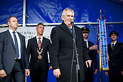 """Czech president Milos Zeman's during his public """"meetings with citizens"""" at the village of Brasy located in the Pilsen Region. The mayor of Brasy -  Ing. Mgr. Miroslav Kroc (2nd. from left). Miloš Zeman (born 28 September 1944) is the third and current President of the Czech Republic, in office since 8 March 2013.  He announced his candidacy for the 2018 presidential elections which will be held in the Czech Republic on 12–13 January."""