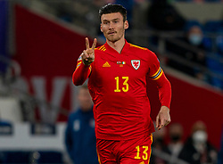 CARDIFF, WALES - Sunday, November 15, 2020: Wales' substitute Kieffer Moore during the UEFA Nations League Group Stage League B Group 4 match between Wales and Republic of Ireland at the Cardiff City Stadium. Wales won 1-0. (Pic by David Rawcliffe/Propaganda)