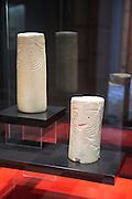 Chalcolithic marble cylinder shaped idols from 2,500 BC  archaeology museum, Jerez de la Frontera, Cadiz Province, Spain