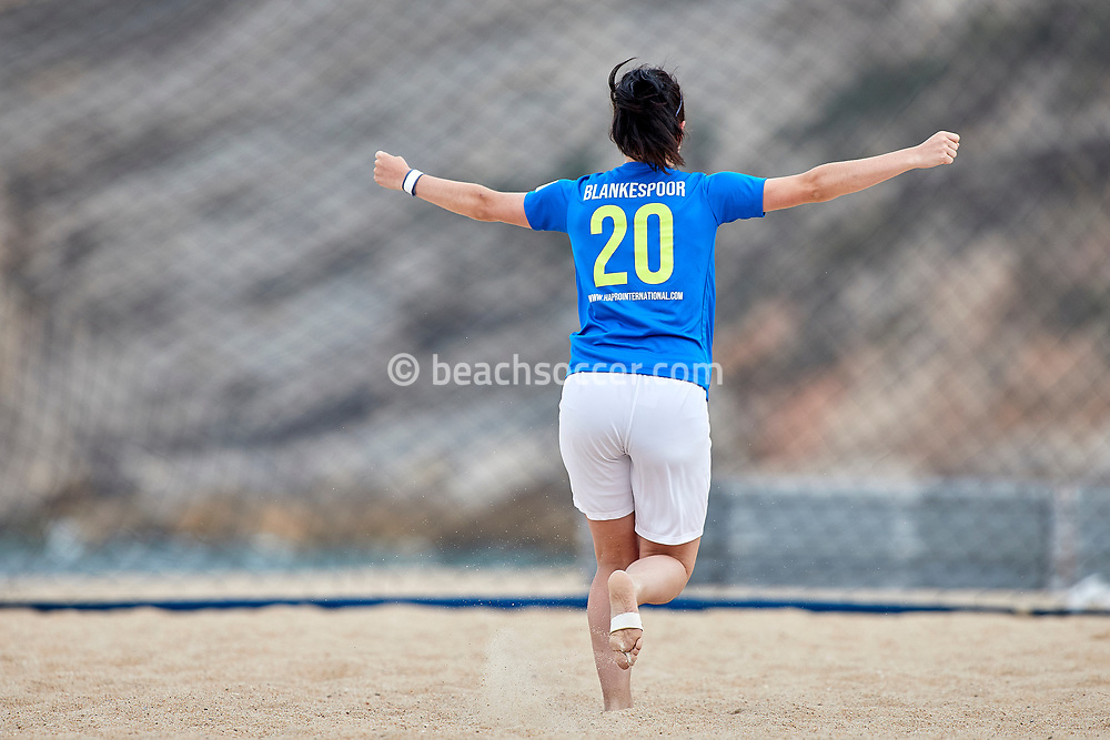 NAZARE, PORTUGAL - JUNE 6: Anoek Blankespoor of Beachsoccer DTS Ede during the Euro Winners Cup Nazaré 2019 at Nazaré Beach on June 6, 2019 in Nazaré, Portugal. (Photo by Jose M. Alvarez)