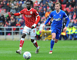 Adam Webster of Ipswich Town competes with Famara Diedhiou of Bristol City - Mandatory by-line: Nizaam Jones/JMP - 17/03/2018 - FOOTBALL - Ashton Gate Stadium- Bristol, England - Bristol City v Ipswich Town - Sky Bet Championship