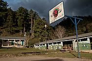 Basketball field with clouds. The weather can change fast during a day.<br /> Cancha de basket anublada. El tiempo cambia muy rápidamente en la selva.