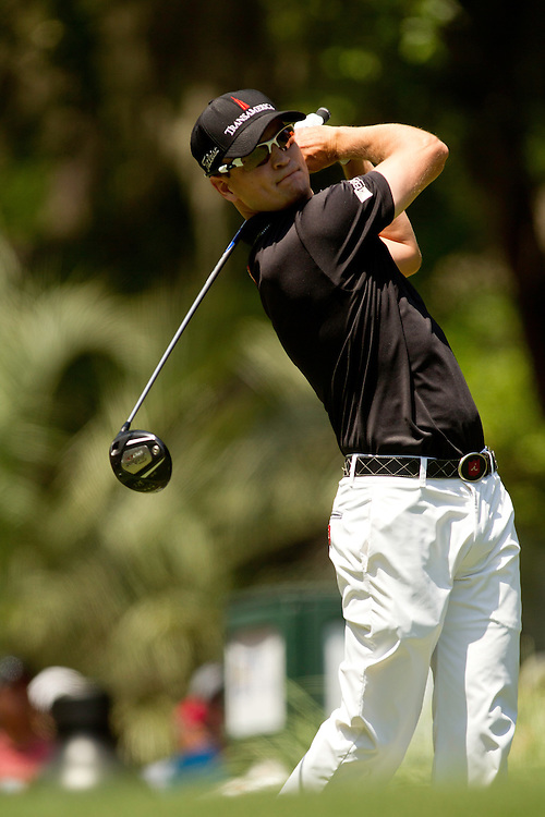 HILTON HEAD ISLAND, SC - APRIL 15: Zach Johnson plays a tee shot during the final round of the 2012 RBC Heritage at Harbour Town Golf Links in Hilton Head Island, South Carolina on April 15, 2012. (Photograph ©2012 Darren Carroll) *** Local Caption *** Zach Johnson