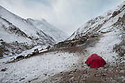 Matthieu Paley's tent in the morning. It is -30 C. Trekking up the Wakhan frozen river, the only way up to reach the high altitude Little Pamir plateau, home of the Afghan Kyrgyz community.