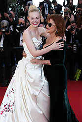 Susan Sarandon and Elle Fanning arriving at Les Fantomes d'Ismael screening and opening ceremony held at the Palais Des Festivals in Cannes, France on May 17, 2017, as part of the 70th Cannes Film Festival. Photo by David Boyer/ABACAPRESS.COM