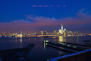 Views of Manhattan, New York City from the roof of Laguna, a new residential building in Newport, Jersey City New Jersey, developed by The Lefrak Organization.
