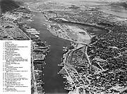 ackroyd_02997-23. looking downstream on the Willamette River & Portland waterfront from the Broadway bridge. Photo taken July 10, 1951.