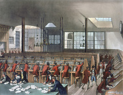 General Post Office, Lombard Street, London. Letters being sorted.Aquatint after Pugin and Rowlandson published London c1808. From Rudolph Ackermann 'London'.