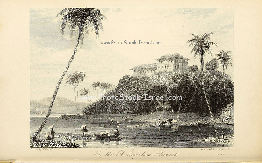On The Baliapatam River [Valapattanam, Kannur district, Kerala, India]. From the book ' The Oriental annual, or, Scenes in India ' by the Rev. Hobart Caunter Published by Edward Bull, London 1836 engravings from drawings by William Daniell